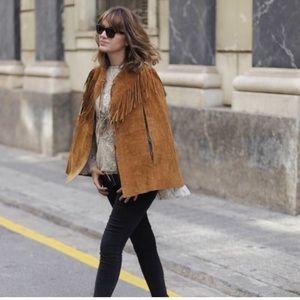 Zara NWT leather Fringe Cape